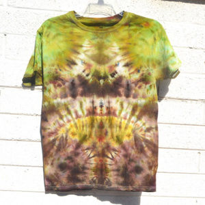 Brown Sunrise Chartreuse Tie Dyed T Shirt Handmade